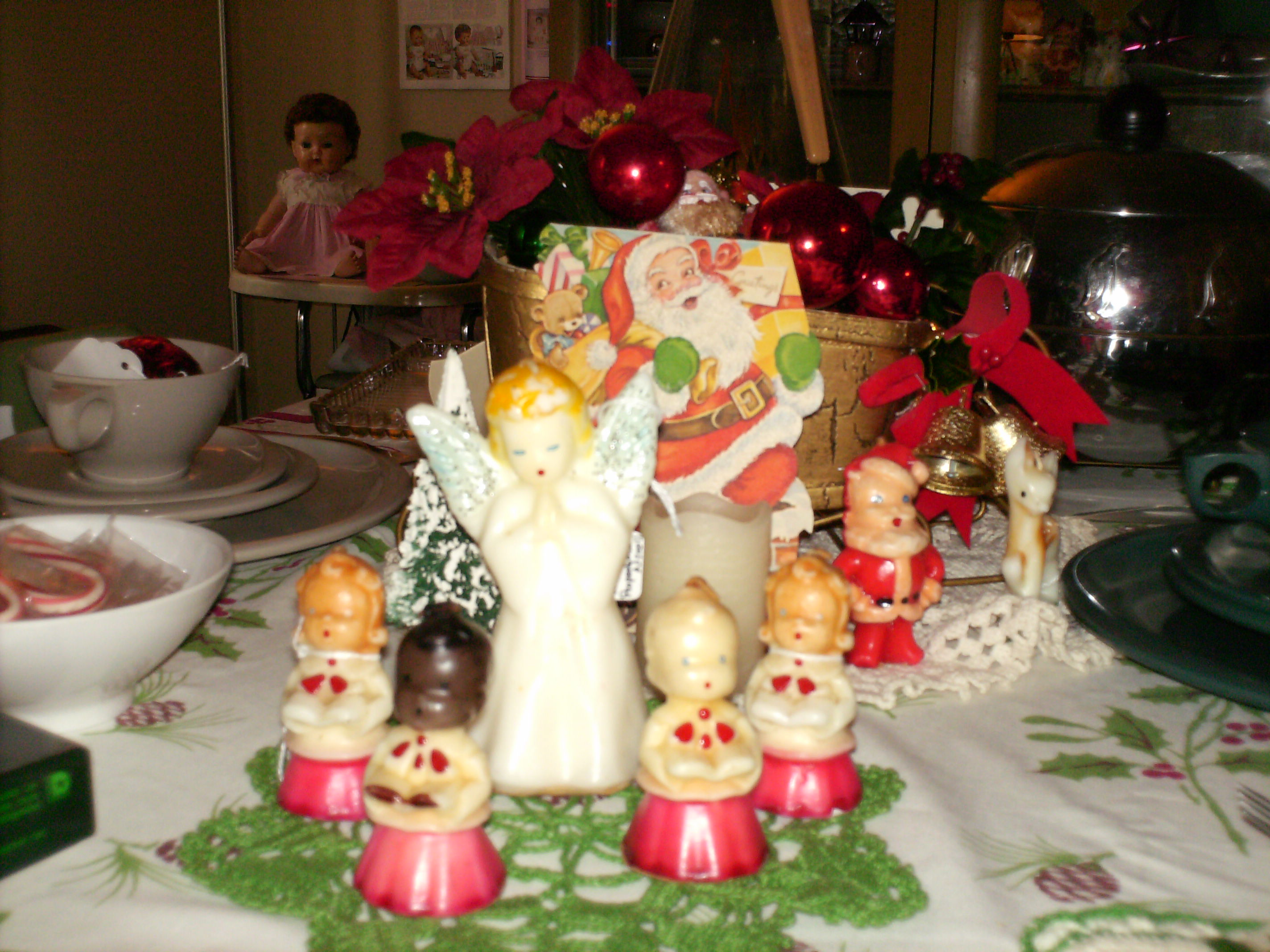 Christmas Gurley Candles, Dining Room table